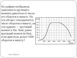 На графике изображена зависимость крутящего момента двигателя от числа его оборо