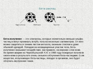 Бета-излучение— это электроны, которые значительно меньше альфа-частиц имогут
