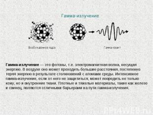 Гамма-излучение— это фотоны, т.е. электромагнитная волна, несущая энергию. Вво
