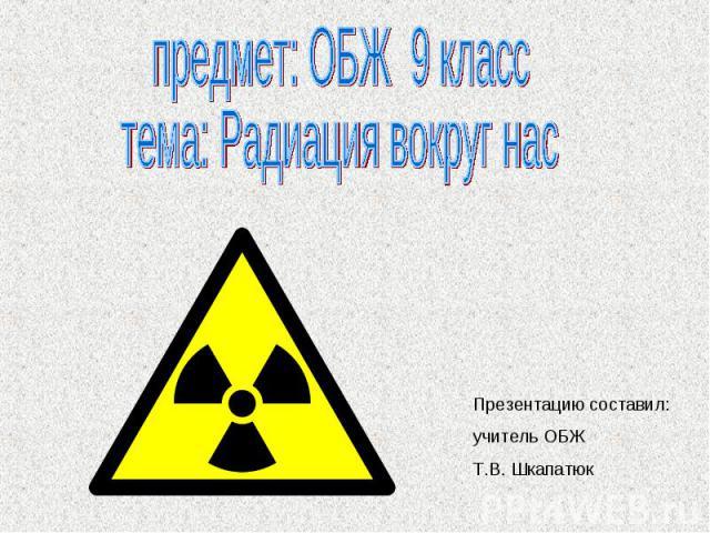 предмет: ОБЖ 9 класс тема: Радиация вокруг нас Презентацию составил: учитель ОБЖ Т.В. Шкапатюк