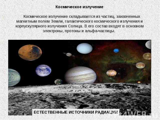 Космическое излучение  Космическое излучение складывается из частиц, захваченных магнитным полем Земли, галактического космического излучения и корпускулярного излучения Солнца. В его состав входят в основном электроны, протоны и альфа-частицы. …