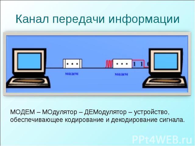 Канал передачи информации МОДЕМ – МОдулятор – ДЕМодулятор – устройство, обеспечивающее кодирование и декодирование сигнала.