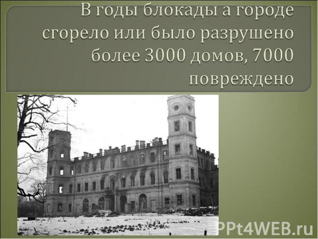 В годы блокады а городе сгорело или было разрушено более 3000 домов, 7000 повреждено