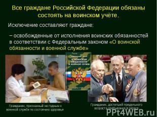 Все граждане Российской Федерации обязаны состоять на воинском учёте. освобожден