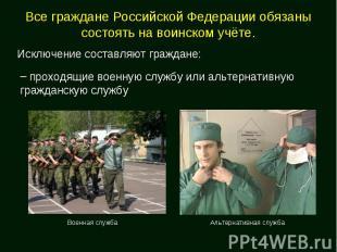 Все граждане Российской Федерации обязаны состоять на воинском учёте. Исключение