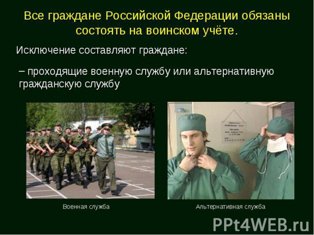 Все граждане Российской Федерации обязаны состоять на воинском учёте. Исключение составляют граждане: проходящие военную службу или альтернативную гражданскую службу