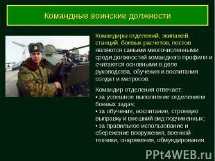 Командные воинские должности Командиры отделений, экипажей, станций, боевых расч