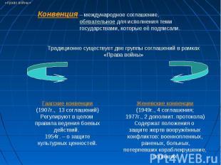 Конвенция – международное соглашение, обязательное для исполнения теми государст
