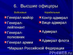 Высшие офицеры Генерал-майор Генерал-лейтенант Генерал-полковник Генерал армии К