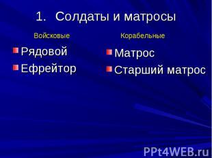 Солдаты и матросы Рядовой Ефрейтор Матрос Старший матрос