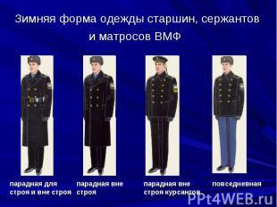 Зимняя форма одежды старшин, сержантов и матросов ВМФ парадная для строя и вне с