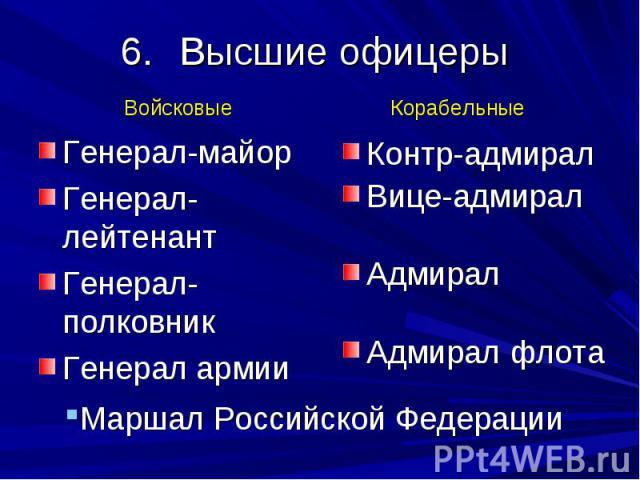 Высшие офицеры Генерал-майор Генерал-лейтенант Генерал-полковник Генерал армии Контр-адмирал Вице-адмирал Адмирал Адмирал флота Маршал Российской Федерации