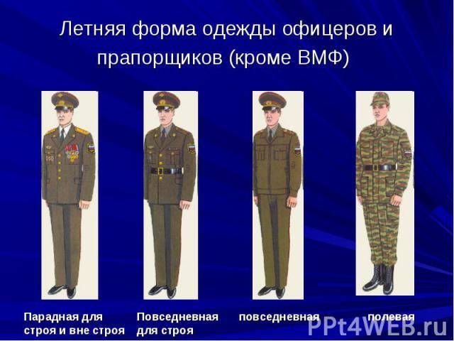 Летняя форма одежды офицеров и прапорщиков (кроме ВМФ) Парадная для строя и вне строя Повседневная для строя повседневная полевая
