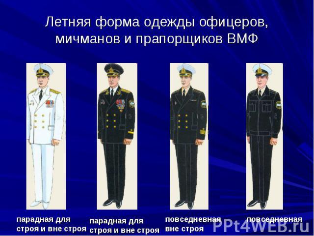 Летняя форма одежды офицеров, мичманов и прапорщиков ВМФпарадная для строя и вне строя парадная для строя и вне строя повседневная вне строя повседневная