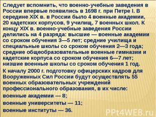 Следует вспомнить, что военно-учебные заведения в России впервые появились в 169