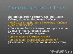 Гражданская война. 1 этапОсновные очаги сопротивления: Дон и Кубань, Украина, Во