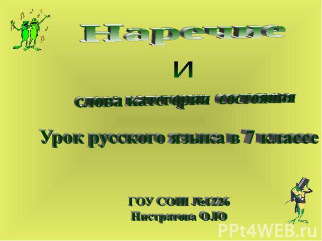 Наречие и слова категории состояния Урок русского языка в 7 классе ГОУ СОШ №1226 Нистратова О.Ю