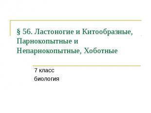 § 56. Ластоногие и Китообразные, Парнокопытные и Непарнокопытные, Хоботные 7 кла