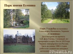 Парк имени Есенина Парк Усадьбы полковника Александра Ивановича Чернова «Сосновк