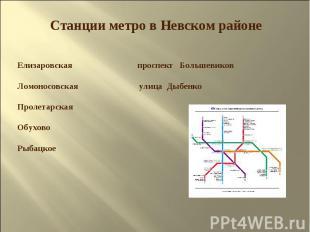 Станции метро в Невском районе Елизаровская проспект Большевиков Ломоносовская у