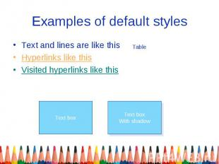 Examples of default styles Text and lines are like this Hyperlinks like this Vis
