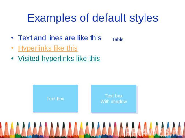 Examples of default styles Text and lines are like this Hyperlinks like this Visited hyperlinks like this
