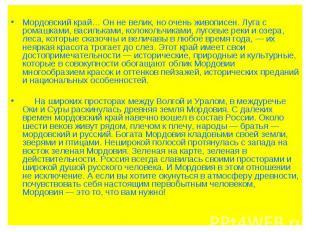Мордовский край… Он не велик, но очень живописен. Луга с ромашками, васильками,