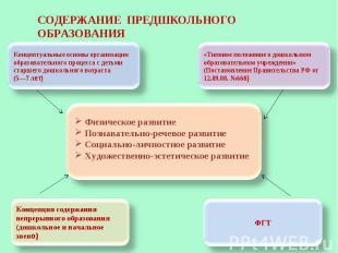 СОДЕРЖАНИЕ ПРЕДШКОЛЬНОГО ОБРАЗОВАНИЯ Концептуальные основы организации образоват