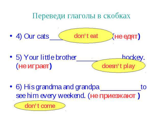 Переведи глаголы в скобках 4) Our cats _____________fish. (не едят) 5) Your little brother____________ hockey. (не играет) 6) His grandma and grandpa ___________to see him every weekend. (не приезжают )