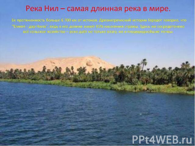 Река Нил – самая длинная река в мире. Ее протяженность больше 6 700 км от истоков. Древнегреческий историк Геродот говорил, что