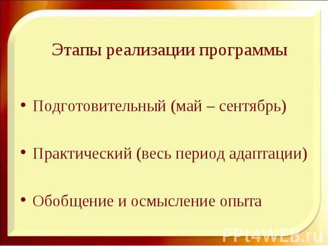 Этапы реализации программы Подготовительный (май – сентябрь) Практический (весь период адаптации) Обобщение и осмысление опыта