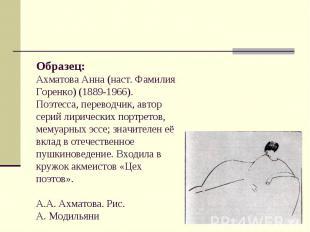 Образец: Ахматова Анна (наст. Фамилия Горенко) (1889-1966). Поэтесса, переводчик