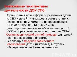 Ближайшие перспективы деятельности ДОУ СПб: Организация новых форм образования д