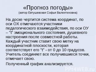 «Прогноз погоды» (автор Евтушевская Софья Валентиновна) На доске чертится систем