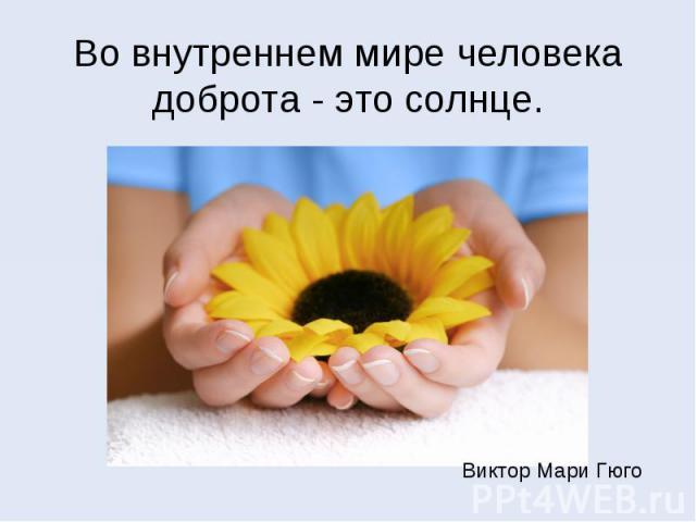 Во внутреннем мире человека доброта - это солнце.