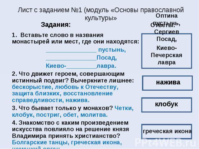 Лист с заданием №1 (модуль «Основы православной культуры» 1. Вставьте слово в названия монастырей или мест, где они находятся: _______________ пустынь, _______________Посад, Киево-_________лавра. 2. Что движет героем, совершающим истинный подвиг? Вы…