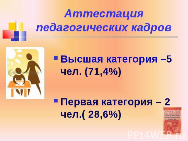 Аттестация педагогических кадров Высшая категория –5 чел. (71,4%) Первая категория – 2 чел.( 28,6%)