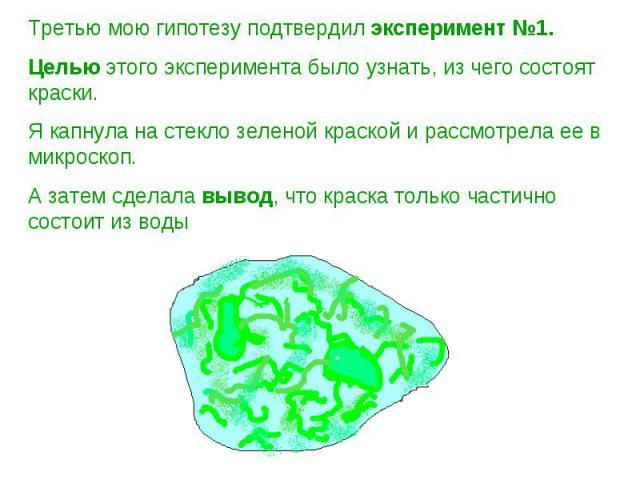 Третью мою гипотезу подтвердил эксперимент №1. Целью этого эксперимента было узнать, из чего состоят краски. Я капнула на стекло зеленой краской и рассмотрела ее в микроскоп. А затем сделала вывод, что краска только частично состоит из воды