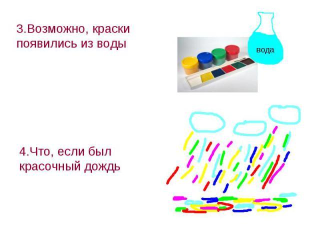 3.Возможно, краски появились из воды 4.Что, если был красочный дождь