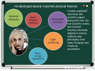 He developed several important physical theories: Einstein published more than 3