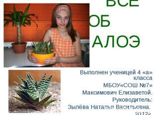 Всё об алоэ Выполнен ученицей 4 «а» класса МБОУ«СОШ №7» Максимович Елизаветой. Р
