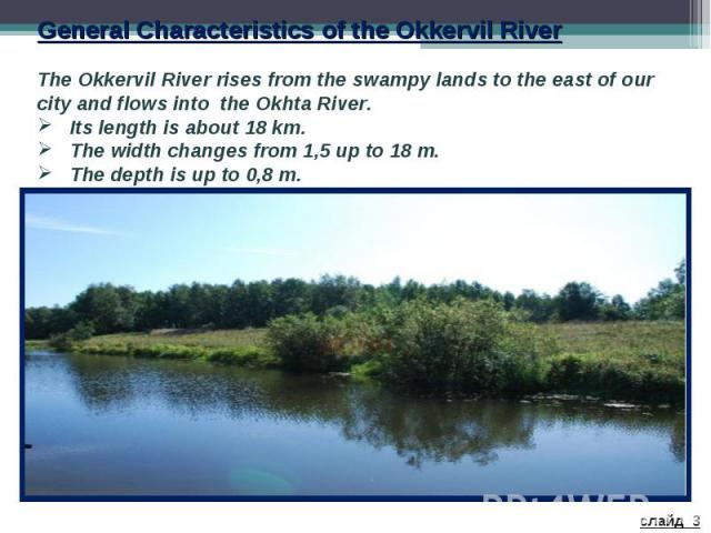 General Characteristics of the Okkervil River The Okkervil River rises from the swampy lands to the east of our city and flows into the Okhta River. Its length is about 18 km. The width changes from 1,5 up to 18 m. The depth is up to 0,8 m.