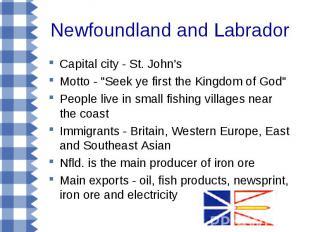 "Newfoundland and Labrador Capital city - St. John's Motto - ""Seek ye first the K"
