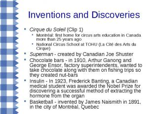 Inventions and Discoveries Cirque du Soleil (Clip 1) Montréal: first home for ci