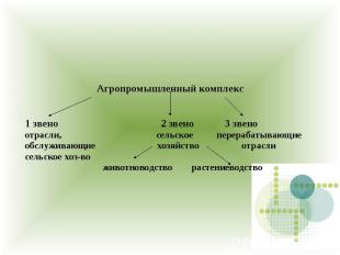 Агропромышленный комплекс 1 звено 2 звено 3 звено отрасли, сельское перерабатыва