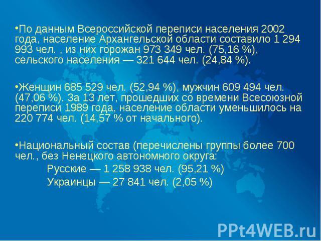 По данным Всероссийской переписи населения 2002 года, население Архангельской области составило 1 294 993 чел. , из них горожан 973 349 чел. (75,16 %), сельского населения — 321 644 чел. (24,84 %). Женщин 685 529 чел. (52,94 %), мужчин 609 494 чел. …