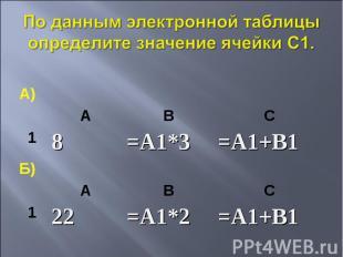 По данным электронной таблицы определите значение ячейки С1.