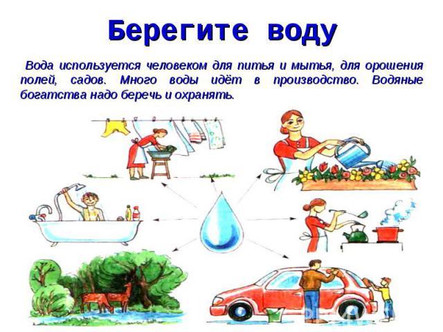 Берегите воду Вода используется человеком для питья и мытья, для орошения полей, садов. Много воды идёт в производство. Водяные богатства надо беречь и охранять.