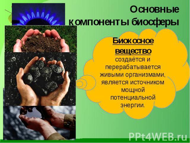 Основные компоненты биосферы Биокосное вещество создаётся и перерабатывается живыми организмами, является источником мощной потенциальной энергии.