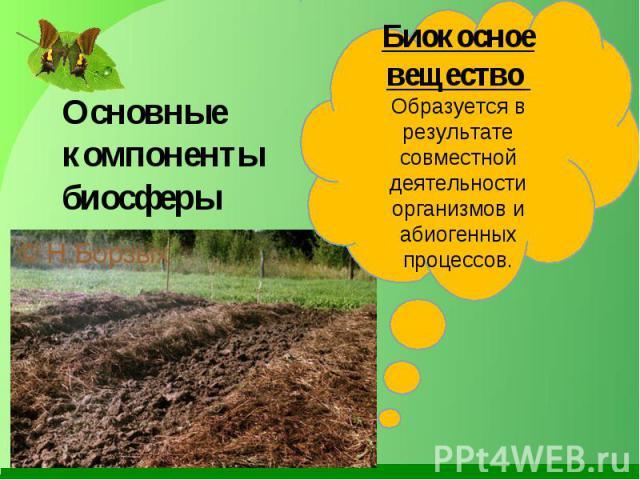 Основные компоненты биосферы Биокосное вещество Образуется в результате совместной деятельности организмов и абиогенных процессов.